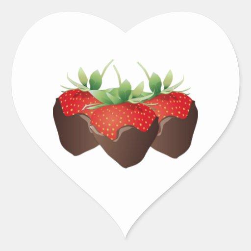 Chocolate Strawberry Heart Sticker