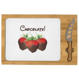Chocolate Strawberry Love Rectangular Cheeseboard
