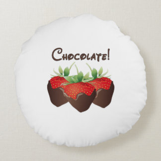 Chocolate Strawberry Love Round Pillow