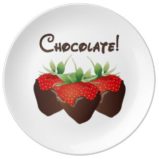 Chocolate Strawberry Porcelain Plate