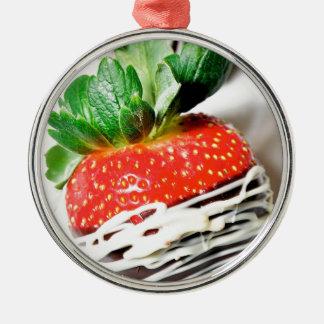 Chocolate strawberry! metal ornament
