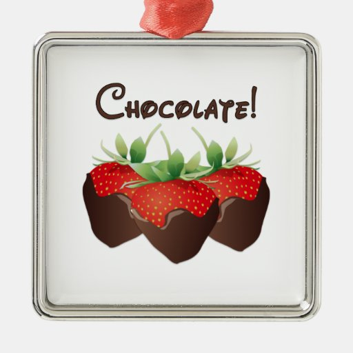Chocolate Strawberry Square Metal Christmas Ornament