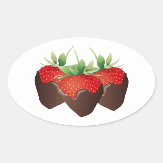 Chocolate Strawberry Oval Sticker