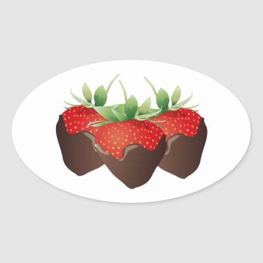 Chocolate Strawberry Oval Stickers
