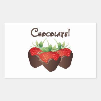 Chocolate Strawberry Rectangular Sticker