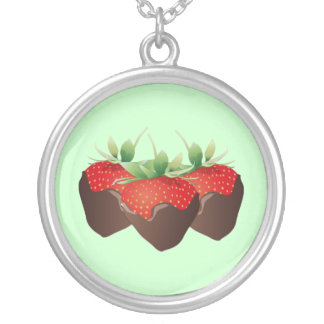 Chocolate Strawberry Silver Plated Necklace