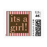 Chocolate Stripe Its a Girl Postage