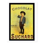 Chocolate Suchard 3 Vintage Ad with Boy Postcard