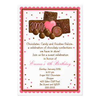 Chocolate Sweet Shop Inivtations Personalized Invite