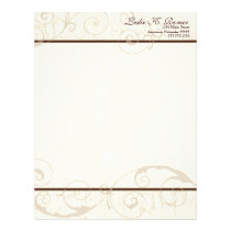 Chocolate Swirls Resume Business Cream Stationery