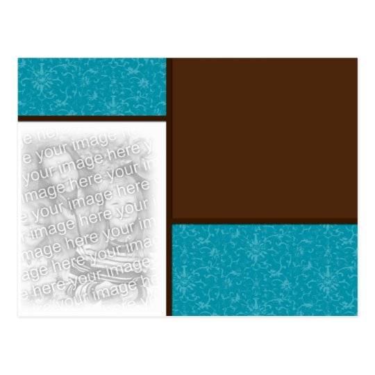 Chocolate/Teal 2 Photo template Postcard