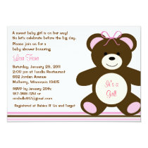 Chocolate Teddy Bear Baby Shower Invitations