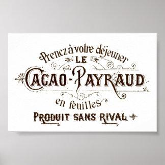 Chocolate tipográfico francés del cacao del vintag posters