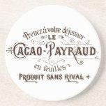 Chocolate tipográfico francés del cacao del vintag posavasos para bebidas