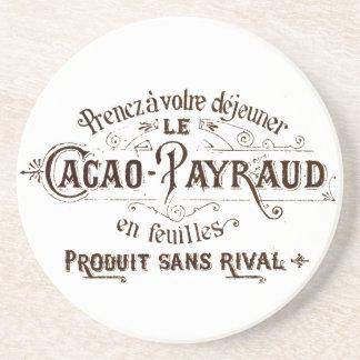 Chocolate tipográfico francés del cacao del vintag posavasos de arenisca
