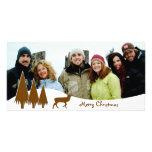 Chocolate Trees & Deer  Merry Christmas Customized Photo Card