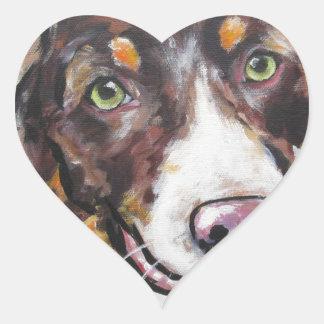 Chocolate Tri Australian Shepherd Heart Sticker