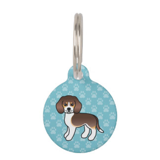 Chocolate Tricolor Cute Beagle Dog With Dog's Info Pet ID Tag