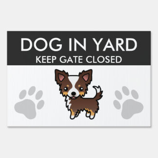 Chocolate Tricolor Long Coat Chihuahua Cartoon Dog Lawn Sign