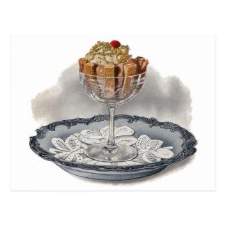 Chocolate Trifle Vintage Dessert Postcard