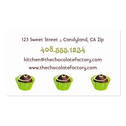 Chocolate Truffle Illustration Business Cards (back side)