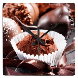 Chocolate truffles square wall clock