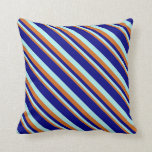 [ Thumbnail: Chocolate, Turquoise & Blue Pattern of Stripes Throw Pillow ]