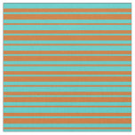 [ Thumbnail: Chocolate & Turquoise Colored Pattern Fabric ]