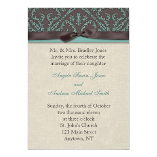Chocolate Turquoise Invitation