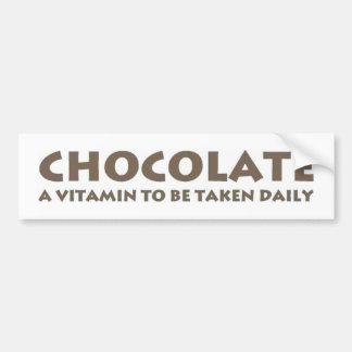 Chocolate - una vitamina que se tomará diariamente pegatina para auto