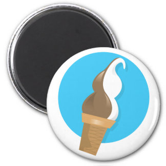 Chocolate & Vanilla Ice Cream Cone 2 Inch Round Magnet