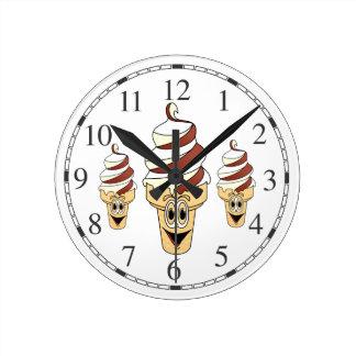 Chocolate Vanilla Ice Cream Cone Cartoon Round Clock
