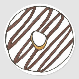 Chocolate Vanilla Iced Donut Classic Round Sticker