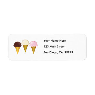 Chocolate, Vanilla & Strawberry Ice Cream Cones Return Address Label