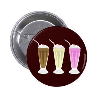 Chocolate, Vanilla, Strawberry Milkshakes Buttons