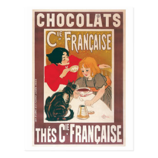 Chocolate Vintage Hot Chocolate Drink Ad Post Card
