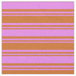 [ Thumbnail: Chocolate & Violet Colored Lined Pattern Fabric ]