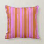[ Thumbnail: Chocolate & Violet Colored Lined Pattern Pillow ]