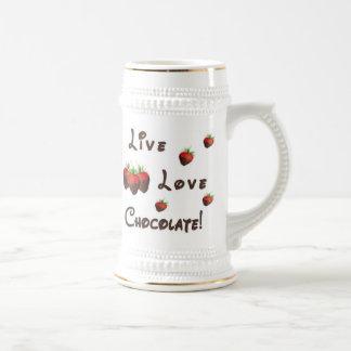 Chocolate vivo del amor jarra de cerveza