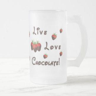 Chocolate vivo del amor taza de cristal