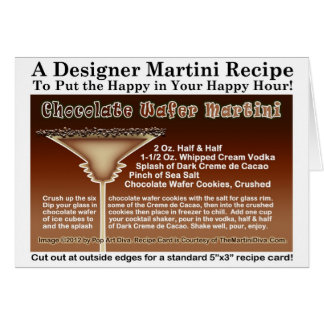 Chocolate Wafer Martini Recipe Greeting Note Card