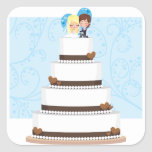 Chocolate Wedding Cake Square Sticker