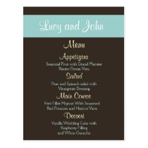 chocolate Wedding Menu Cards