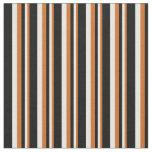 [ Thumbnail: Chocolate, White & Black Stripes Pattern Fabric ]