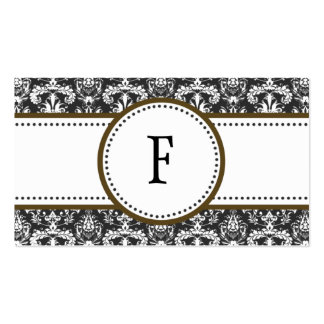 Chocolate & White Classic Damask Mommy Calling / Business Card Templates