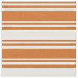 [ Thumbnail: Chocolate & White Colored Stripes Pattern Fabric ]