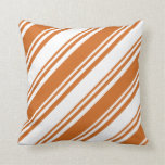 [ Thumbnail: Chocolate & White Colored Stripes Pattern Pillow ]
