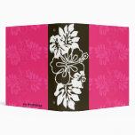 Chocolate & White Hibiscus Hawaiian Flower Vinyl Binder
