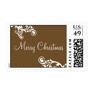 Chocolate & White Merry Christmas Flourish Postage