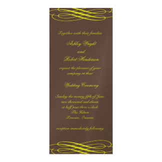 Chocolate with Golden Ribbons Wedding Invitation